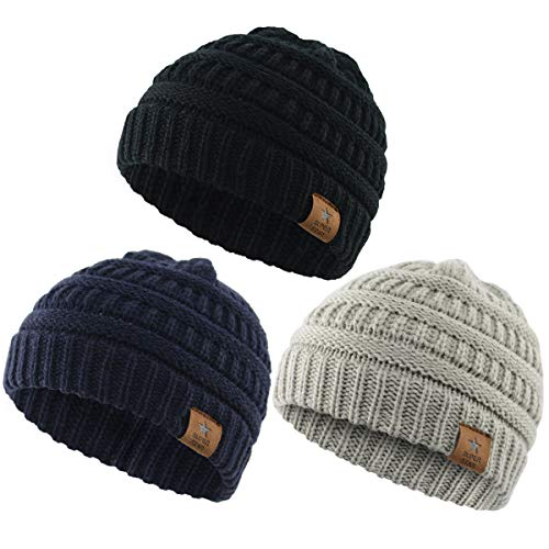 2fe4ecd79dcc7 Hats   Caps – Durio Soft Warm Knitted Baby Hats Caps Cute Cozy Chunky Winter  Infant Toddler Baby Beanies for Boys Girls 3 Pack Black   Light Grey   Navy  ...