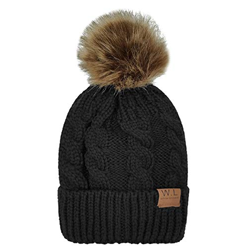 fd0c625e3f250 Hats   Caps – Whiteleopard Kid Beanie Hats Lining Pom Pom for Children - Slouchy Cable Knit Toddler Skull Hat Baby Ski Cap for Girls Boys (Black)