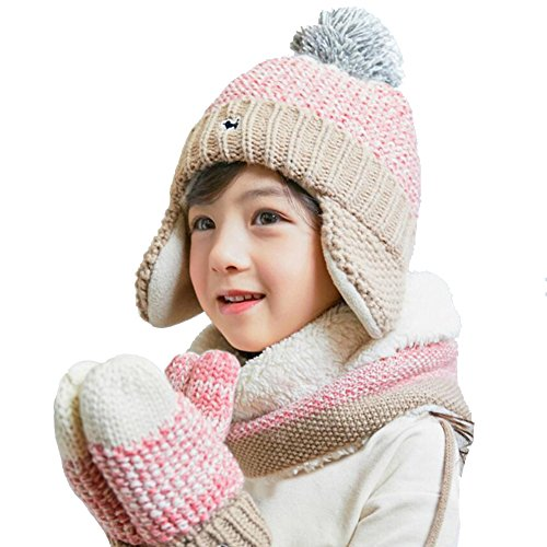 2d8108ecbd9 Hats   Caps – Baby Hats Baby Mittens Baby Girls Boys Winter Warm Knit Hat+ Scarf Gloves 2 3 Pieces Set (Pink) Offers