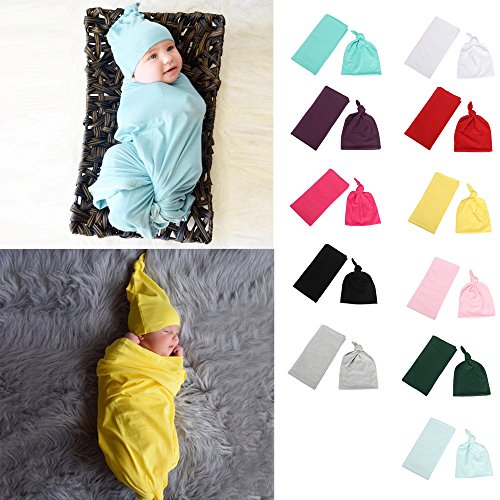 2f0dd769500 Hats   Caps – Hauzet Newborn Baby Girl Boy Hat+ Wrapped Posing Swaddle  Cover Photography Prop(Black