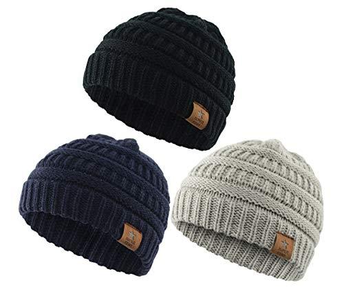 e5f73eb07343a8 Hats & Caps – Zando Kids Baby Toddler Boy Girl Knit Winter Warm Hats  Beanies Caps 3 Pack: Black, Light Grey, Navy Offers