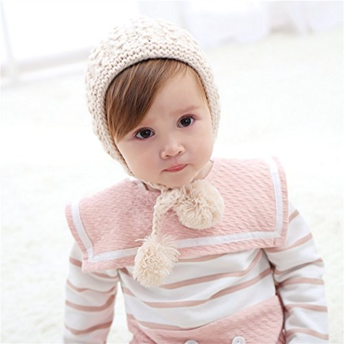 f046b2c4c8628 Hats & Caps – inSowni Winter Warm Crochet Hat Cap Bonnet for Baby Toddler  Girl (Ivory)